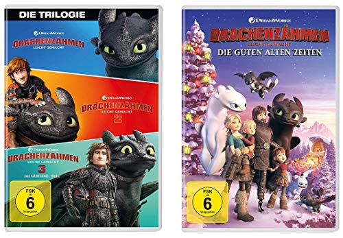 Drachenzähmen leicht gemacht - Kinofilm 1+2+3 + Die guten alten Zeiten im Set - Deutsche Originalware [4 DVDs]
