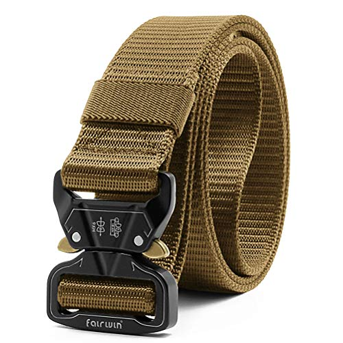 "Fairwin Tactical Belt, 1.5 Inch Wide Heavy Duty Military Style Tactical Belts for men (Tan, Waist 50""-54"")"