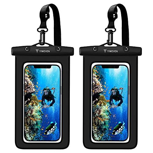 YIWEVEN wasserdichte Handyhülle - [2 Stück] 7.0 Zoll IPX8 Unterwasser Handy Wasserschutzhülle für Schwimmen Baden Kochen Kompatibel mit iPhone 12/12/ Pro/SE 2/11/XS Max/XR/X/8/7/6 Samsung Huawei etc