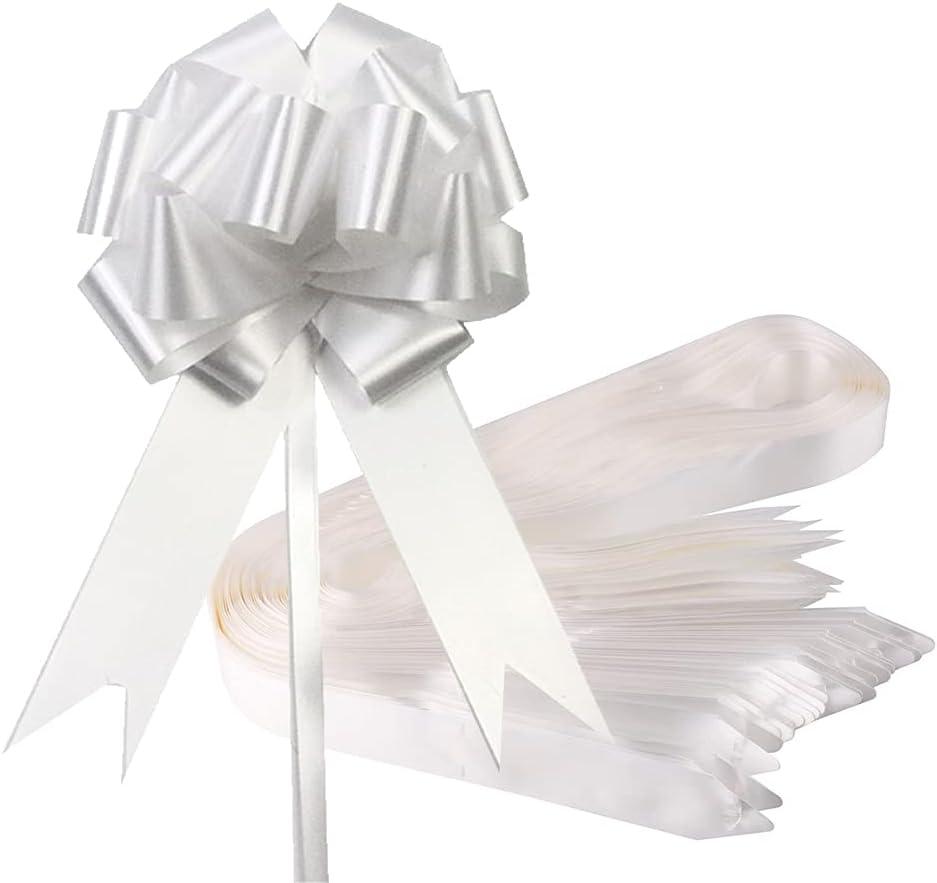 MingZhuInC Lazos blancos para boda, 30 lazos de lazo blanco para regalo, para decoración de boda, diámetro de 12 cm