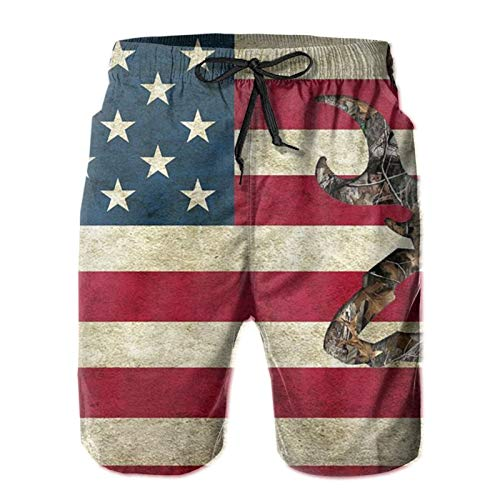D-WOLVES American Flag Deer Camo Men's Quick Dry Swim Trunks, Summer Beach Board Shorts with Mesh Lining Bathing Suit for Swimming Fishing Beach Gym Running, L