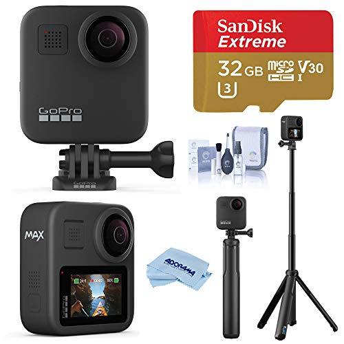 GoPro MAX Waterproof 360 Camera 5.6K30 UHD Video 16.6MP Photos 1080p Live Streaming Travel Bundle with Grip + Tripod, 32GB microSD Card, Cleaning Kit