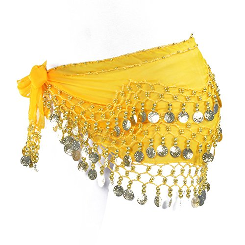 Women Chiffon Dangling Gold Coins Belly Dance Hip Skirt Scarf Wrap Belt (Gold Coin, Yellow)