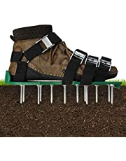 Gazonbeluchter Schoenen, Gazon beluchter, Gazonbeluchter Sandalen, Effectief Gereedschap voor het ventileren van Yard-bodem,26 stalen metalen spikes,met verstelbare 8 metalen gespriemen, universeel