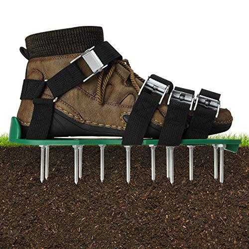 EIVOTOR Zapatos Aireadores de Césped & Zapatos para Airear el Césped & Escarificador Cesped Zapatos Jardín de Césped & Escarificador Manual con 8 Correas Ajustables para Césped, Jardín, Ja