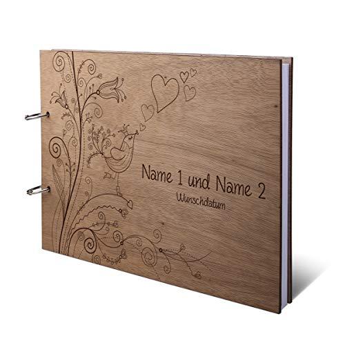 Hochzeit Gästebuch Okoume Holz Gravur individuell Holzcover mit 144 Naturpapier Innenseiten DIN A4 quer 302 x 215 mm - Liebesbaum