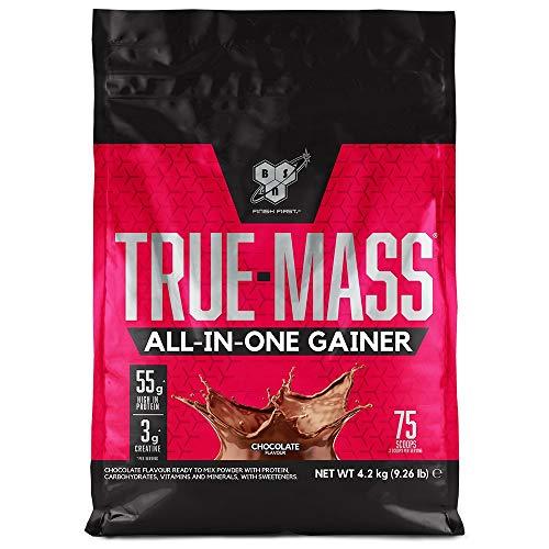 BSN True Mass All In One Gainer, Whey Protéine en Poudre pour Prise de Masse avec Creatine, Glutamine, Vitamine D et Zinc, Saveur Chocolat, 25 Portions, 4,2 kg