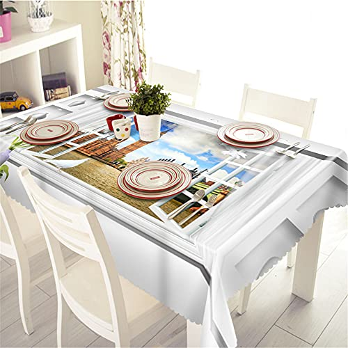YGHBKL The Landscape Outside The Window 3D Tablecloth Polyester Rectangular Tablecloth Picnic Fabric Main Decoration Round Diameter 60 cm