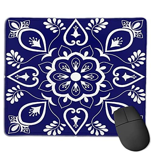 Alfombrilla de ratón para juegos personalizada,Azulejos Adornos Motivos Florales Azules Y Blan,Alfombrilla rectangular de goma antideslizante para oficina para computadoras portátiles de 9.8'x 11.8'
