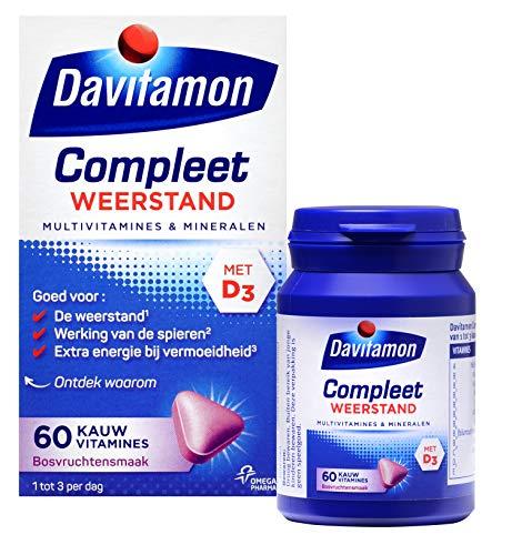 Davitamon 5000004667 Compleet Weerstand Kauwvitamines met vitamine D en C - Multivitamine - Bosvruchten - 60 kauwtabletten