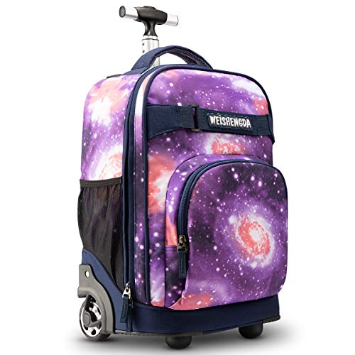 WEISHENGDA 18 inches Wheeled Rolling Backpack for Adults and School Students Books Travel Bag, Purple Sky