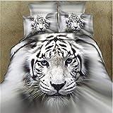 QueenHome Ensemble de literie Ensemble de Housse de Couette Tigre Blanc 3D Effet d'impression d'animal Couette literie Ensemble en