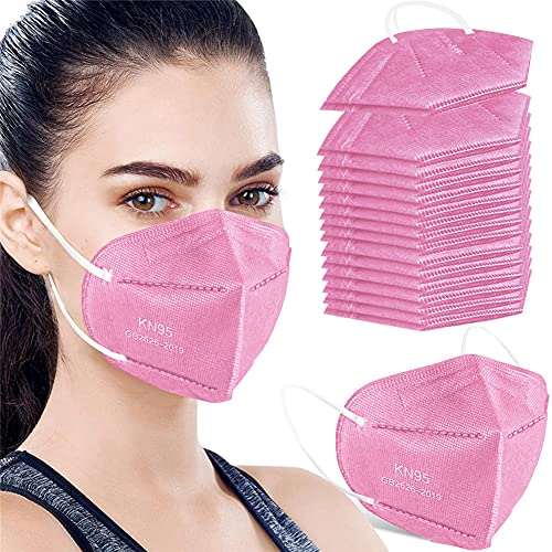50PCS KN95 Face Mask Respirator Cup Dust Safety Masks Breathable 5 Layer with Elastic Ear Loop and Nose Bridge Clip for Personal Protective Pink