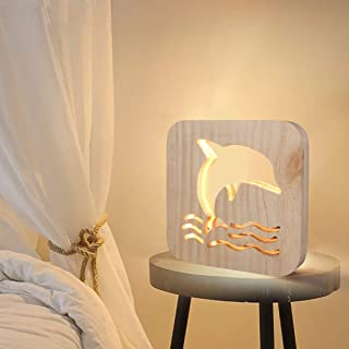 dezirZJjx Wood Desk Lamp, Dolphin Night Light,USB Powered Bedside Nightstand Lamp,Baby Gift Living Room Home Decor Wood Color