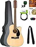 Fender CD-60SCE-12 Dreadnought Acoustic-Electric Guitar, 12 String - Natural Bundle with Gig Bag, Tuner, Strap, Strings, Picks, Austin Bazaar Instructional DVD, and Polishing Cloth