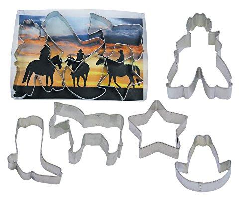 R&M International Cortadores de biscoito de caubói, estrelas, cavalo, caubói, bota, chapéu, conjunto de 5 peças