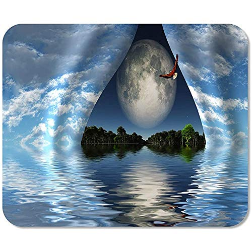 Mousepad Surrealer Digitaladler Fliegt Über Wasser Riesenmond Hinter Vorhängen Des Himmels Speziell Bedruckte Mausmatte Mousepad Mousepad Game Office Rutschfeste Bunte Arbeitsschu