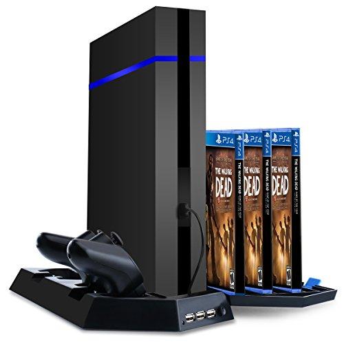 Samoleus PS4 / PS4 Slim / PS4 PRO Supporto Verticale con Ventola di Raffreddamento, Doppia Stazione di Ricarica, Cooling Fan con 14 Slot Game Storage e 3 Porte USB per Playstation 4/4 Slim / 4 PRO