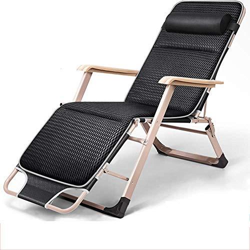 bh+ Klappstuhl Garten Liegestuhl Büro Mittagspause Stuhl Tragbarer Campingstuhl im Freien Strand Sonnenliege Schwerelosigkeit Stuhl, Last 200 kg, Länge 178 cm (Farbe: Schwarz)