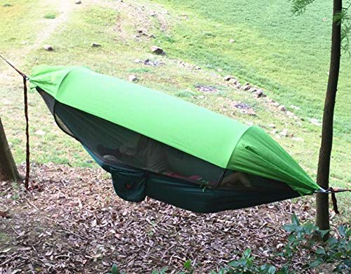 KIKOOY Hammock with Mosquito Net 2/1 Person Camping, Ultralight Portable Windproof, Anti-Mosquito, Swing Sleeping Hammock Bed with Net and 2 x Hanging Straps for Outdoor, Hiking, Backpacking