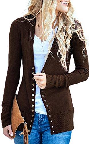 NENONA Women's V-Neck Button Down Knitwear Long Sleeve Soft Basic Knit Cardigan Sweater(Brown-S)