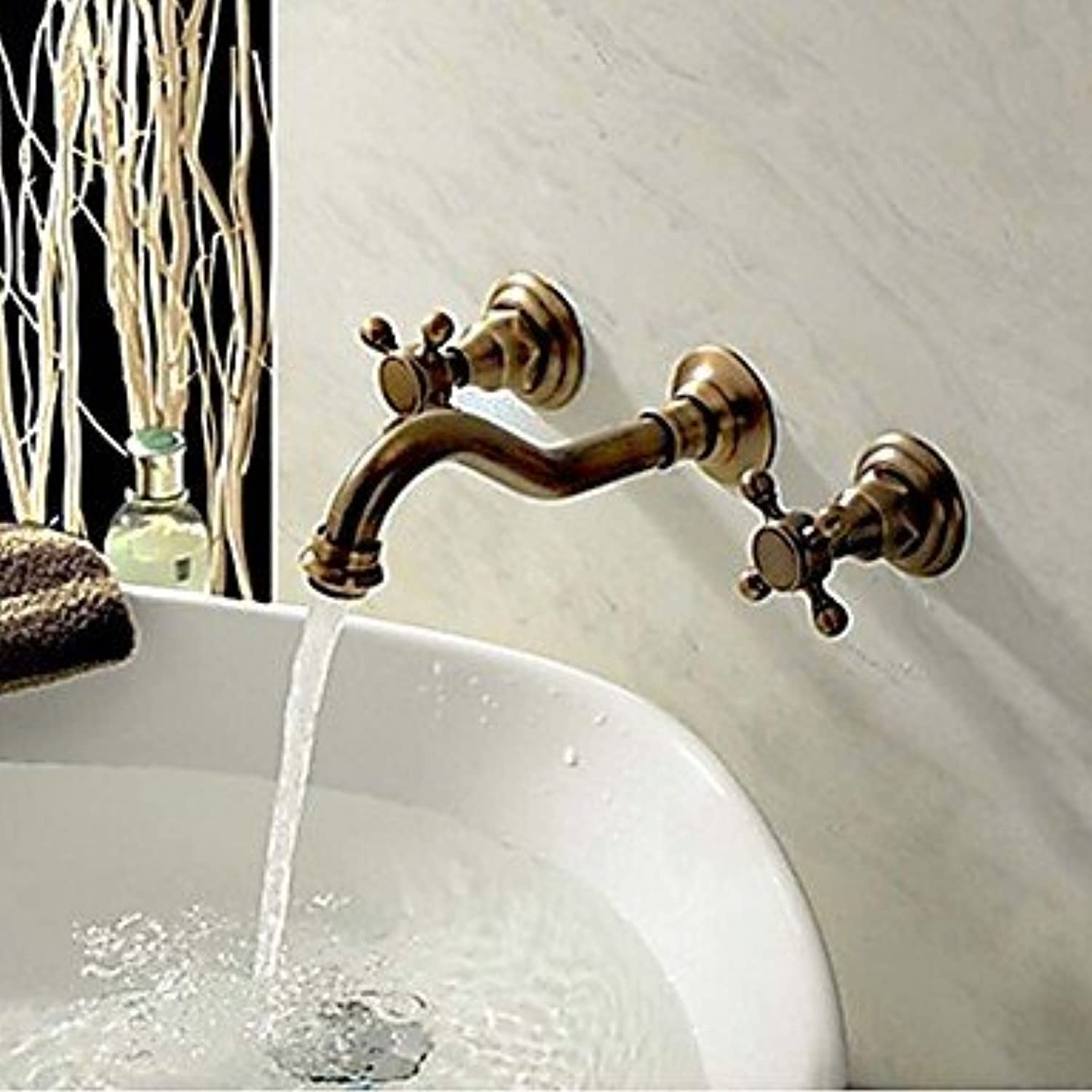 ZLL Wall mounted two handles antique brass bathroom sink faucet three-hole