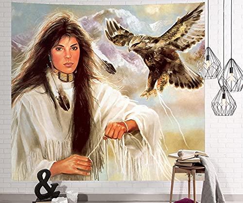 Águila Mujer Tapiz De Pared Paño Colgante Decoración De Pared Tapices Dormitorio Sala De Estar Dormitorio Cortina Toalla De Playa Manta 79X59 Pulgadas