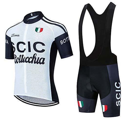 Tuta da Ciclismo Estiva da Uomo Body Comoda Maglia a Maniche Corte e Pantaloncini Imbottiti 5D Traspiranti Moda Vestiti da Ciclismo