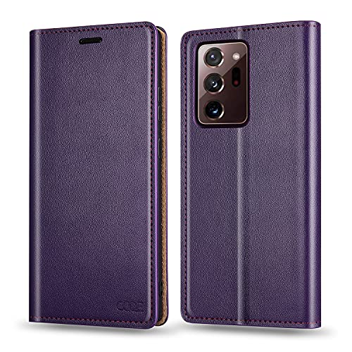 OQQE for Samsung Galaxy Note 20 Ultra 5G 6.9' Wallet Case,Cowhide Genuine Leather Folio Flip Cover Shell Anti-fall Shockproof TPU [RFID Blocking] Credit Card Holder [Kickstand Function]Folding, Purple