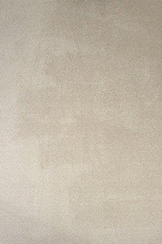 havatex Luxus Velours Teppich Buffalo - flauschig weich und schadstoffgeprüft | robust pflegeleicht strapazierfähig | Wohnzimmer Schlafzimmer Esszimmer Kinderzimmer, Farbe:Beige, Größe:60 x 120 cm