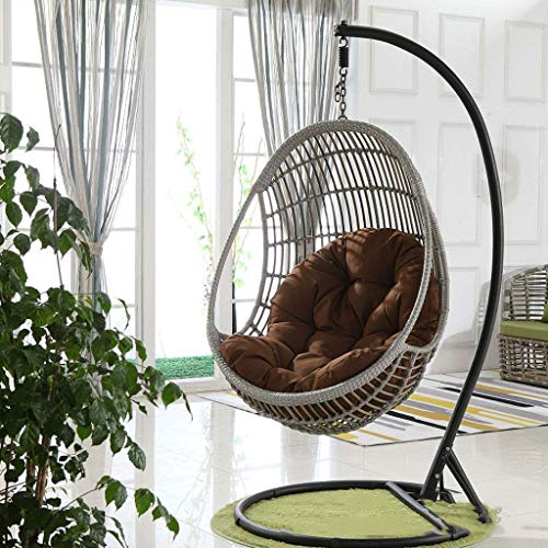 LIYANJIN Schaukelstuhl-Kissenauflagen, Eier-Hängematten-Stuhlkissen Eierförmiger Stuhl für Garten-Terrassenmöbel im Außen- / Innenbereich, 90 x 120 cm (Farbe: Braun)...