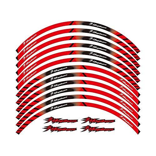 Motos Pegatinas 12 X Grueso del Borde del Borde Exterior Pegatina Raya Rueda Adhesivos for Suzuki Hayabusa GSX1300R GSXR1300 GSXR1300R (Color : Red)