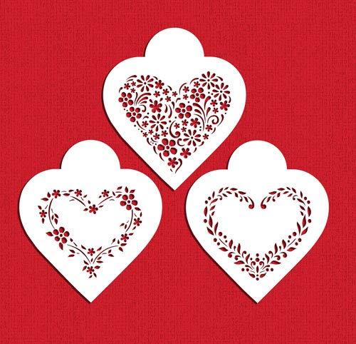 Designer Stencils C1055 - Juego de plantillas para galletas, diseño de corazones florales