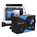 Piwoka Action Camera 1080P 12MP Waterproof Underwater 98ft Sports Camera 2' LCD Screen Wide Angle with Mounting Accessories Kit (Black-Blue)