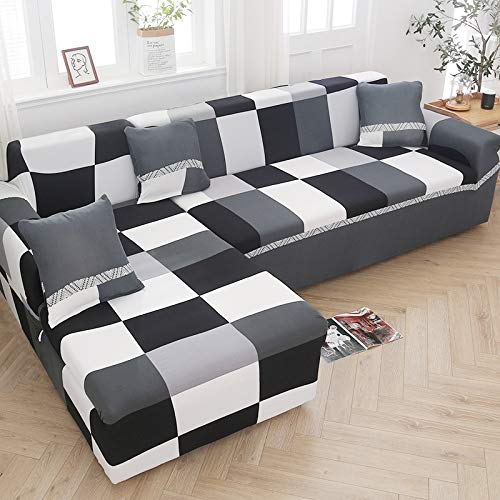 Fundas de sofá elásticas para Sala de Estar Sofá en Forma de L Necesita Comprar 2 Piezas Funda de sofá Funda de sofá de Esquina elástica Fundas A24 2 plazas