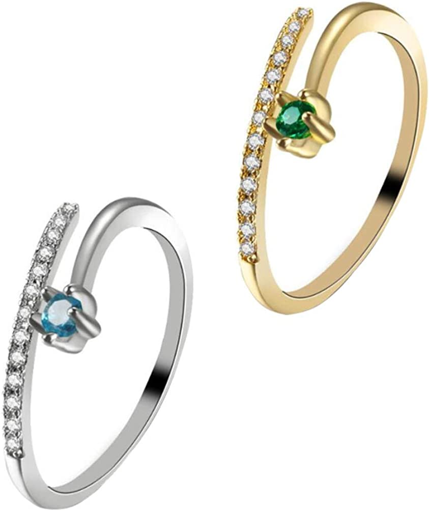 At the price of surprise Holibanna 2PCS Open Rings Couple Ring Ranking TOP19 Twist E Zircon Inlaid
