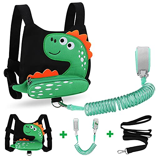 3 in 1 Toddler Harness Leash + Baby Anti Lost Wrist Link, Accmor Cute Dinosaur Child Safety Harness Tether, Kids Walking Wristband Assistant Strap Belt for Parent Boys Outdoor Activity (Black)