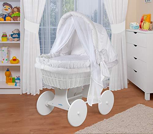 WALDIN Cuna Moisés, carretilla portabebés XXL, 44 colores a elegir,Madera/ruedas lacado en blanco,color textil blanco/puntos gris