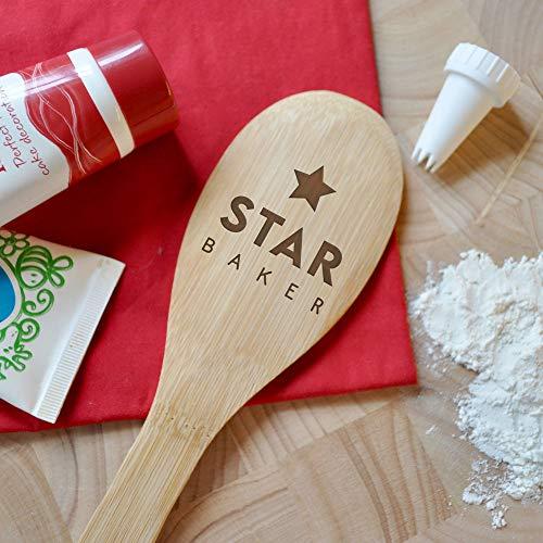 eBuyGB Gifts for Her Star Baker, cuchara de madera grabada con láser, trofeo de premios para galardonados, cocina de cocina, bambú