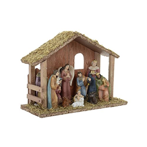 Traditional Wooden Nativity Scene Set Christmas Xmas Decoration Crimbo Wood Festive Display For Home