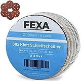 Klett Schleifscheiben-Set 125mm Rund - Fexa Exzenter-Schleifer - 8-Loch Schleifpapier Schleifblätter - 2-teilig - 60 Stück