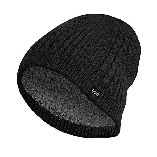 Bonnet Chapeau Hiver pour Hommes Femmes Unisexe Bonnet à Revers Bonnet Tricoté Doux et Chaud (Noir Doublure Polaire)