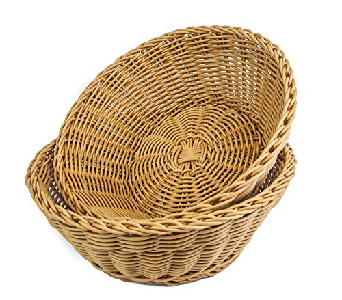KOVOT Poly-Wicker Round Baskets Set of 2-10.5'D x 4'H Woven Polypropylene
