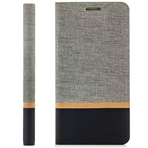 zanasta Tasche kompatibel mit HTC 10 EVO Hülle Flip Hülle Schutzhülle Handytasche mit Kartenfach Grau
