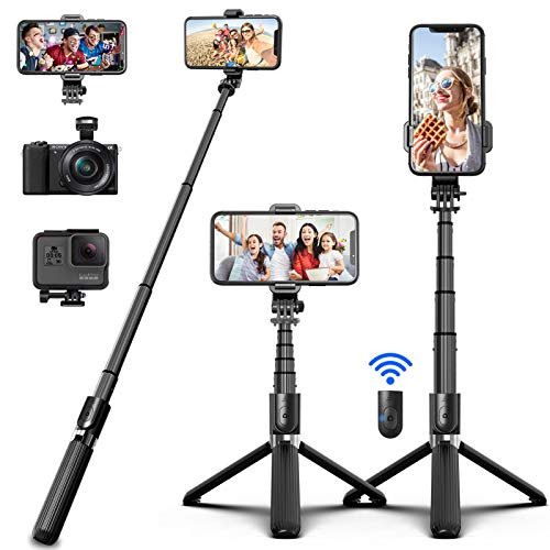 SYOSIN Bluetooth Selfie Stick Tripod, Extendable Aluminum Alloy Compact Phone Tripod with Remote 360° Rotation Selfie Stick for iPhone 12 Pro Max iPhone 11 iPhone XR Galaxy S10 S20 Google Huawei GoPro