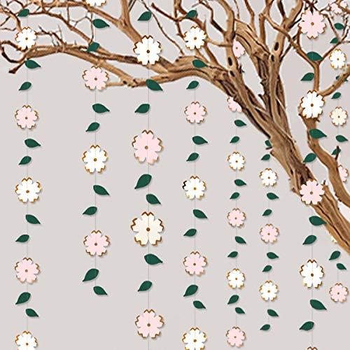 Guirnalda de flores de papel rosa blanca para colgar en hoja verde, hoja de oro rosa, para despedida de soltera, compromiso, boda, cumpleaños, aniversario, decoración de fiesta