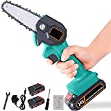 CJCGLOBAL Handheld Cordless Chainsaw with Charger and 2 Battery | Mini 4-Inch Cordless Electric Protable Chainsaw, Adjustable Cutting Speed for Wood Cutting, Tree Pruning and Garden (Blue)