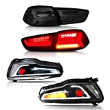 MOSTPLUS Dual Beam DRL Devil Eyes Halo Projector Headlights & Tail Lights Compatible for Mitsubishi Lancer EVO X 2008-2017