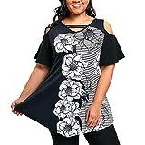 FAMILIZO Camisetas Mujer Manga Corta Camisetas Mujer Verano Blusa Mujer Sport Tops Mujer Verano Camisetas Sin Hombros Mujer Camisetas Mujer Manga Corta Camiseta Mujer Tallas Grandes (5XL, Negro)