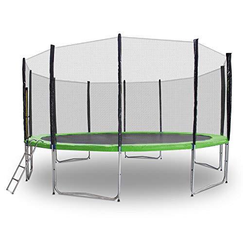 Gartentrampoline Trampoline Mit Leiter Randabdeckung Sicherheitsnetz und Randabeckung (Hellgrün, 490cm)